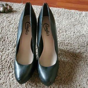 Candies Black Leather Heels